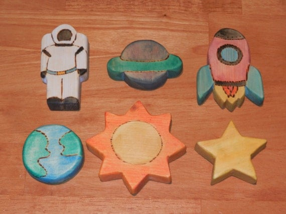 Wooden Outer Space Toy Set By Fromjennifer On Etsy