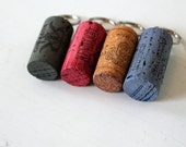Wine Cork Key chains - set of four - recycled oak wine corks - green, red, orange, blue