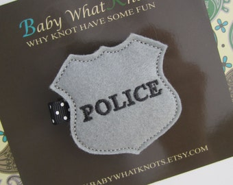 Police Badge Hair Clip, Cop ID Hair Clippies, Officer Girl Barrette, hcbadge01
