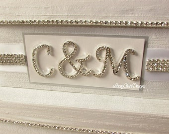 Personalized Crystal Monogram Nameplate - To be purchased with Card Boxes ONLY