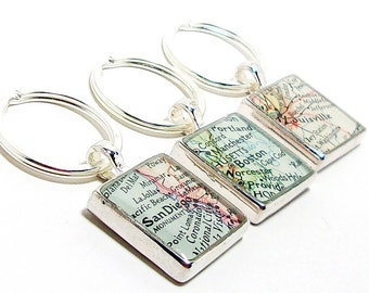 CUSTOM Vintage Map Keychain. You Select Location. Anywhere In The World. One Map Keyring. Travelers. Personalized. Gifts. Husband. Fiance.
