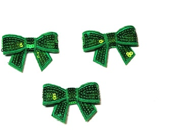 """Emerald Green Sequin 1 1/2"""" Bow - Set of 3"""