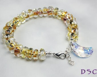 Golden Yellow Moon Boro Beaded Bracelet