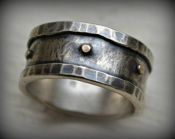 mens wedding band - handmade artisan designed fine and sterling silver with 14k gold rivets - oxidized - manly ring - custom hand stamping