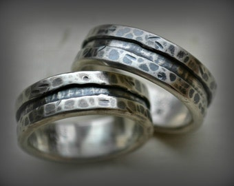 rustic silver wedding rings - handmade artisan designed oxidized unisex fine silver and sterling wedding or engagement band set - customized