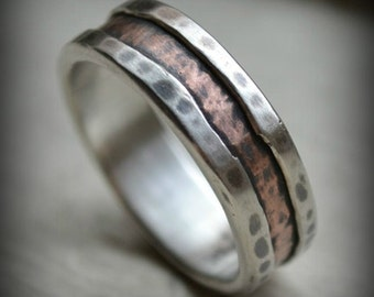 rustic wedding band - fine silver and 14K rose gold - handmade artisan designed wedding or engagement band - oxidized ring - customized