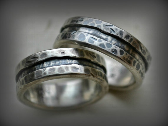 Rustic Silver Wedding Rings Handmade Artisan Designed Oxidized