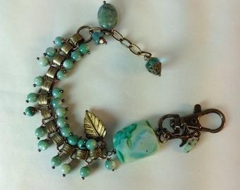 Chain Bracelet, Victorian Book, Art Nouveau  , Turquoise Blue Australian Opal