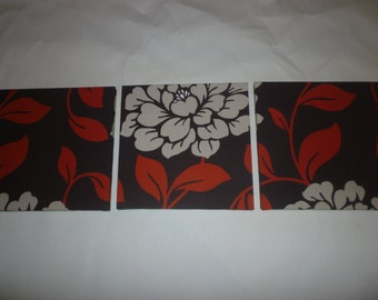 Red Fabric Wall Art Brown Cream Floral Funky Retro Designer Cotton Canvas-weight Tryptich Picture Hanging