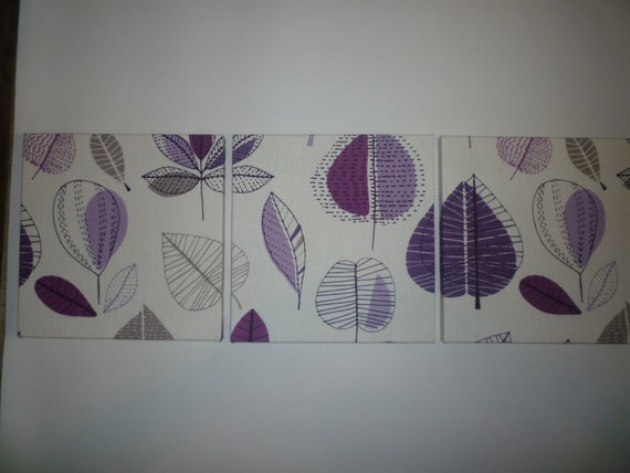 Funky Fabric Wall Art Purple Taupe Gray Retro Designer Cotton Canvas-weight Tryptich Picture Wall Hanging 4 Color Choices Home Decor
