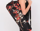 Yoga Mat Bag in Black Cherry Blossom with a Zipper Pocket- Free Shipping