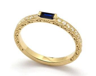 Vintage Engraved Yellow Gold Sapphire Baguette Engagement Ring