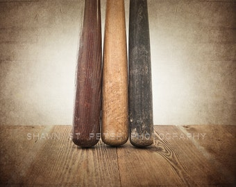 Three Vintage Baseball Bats on Wood One Photo Print ,Decorating Ideas, Wall Decor, Wall Art,  Kids Room, Nursery Ideas, Gift Ideas,