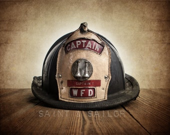 Vintage Fireman helmet Photo Art Print, Captain WFD, 12 Sizes Available from Print to Mounted Canvas