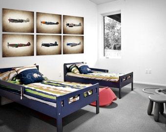 Vintage WWII Airplanes Setof 6 Photo Prints, Airplane Wall decor, Boys Room Decor, Airplane Wall Art