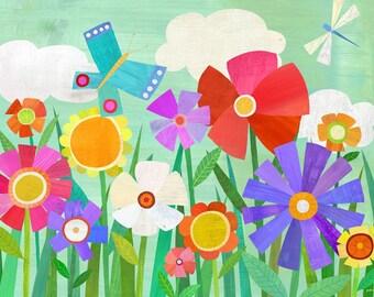 "Garden Flowers, Canvas Print 24"" x 18"""