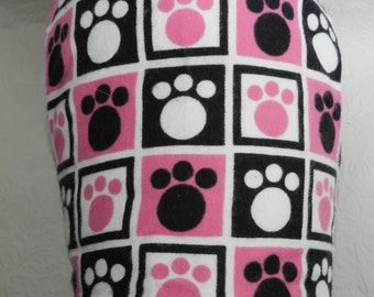 Game of Puppy Checkers? Pink, White & Black Animal Paw Print Checkered Theme Travel Harness. Custom made for your Cat, Dog or Ferret.