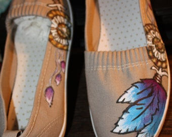 Dream Catcher Hand painted Shoes Sneakers  slip on Native American Indian Feathers any size Custom made for you talisman