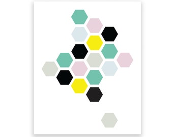 Honeycomb 2 Art Print/Wall Art - Baby Nursery Decor and Children's Room Decor