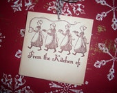 From the Kitchen Of Tag - Treat Tag - Baked Goods Tag- Goody Tag - Vintage Image of Ladies Carrying Desserts - Set of Six