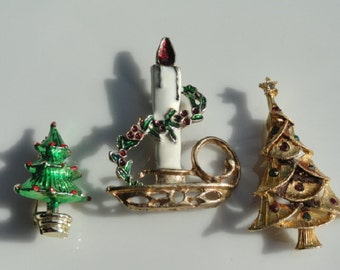 Christmas tree brooch, Christmas candle, set of 3, Christmas tree jewelry, vintage jewelry