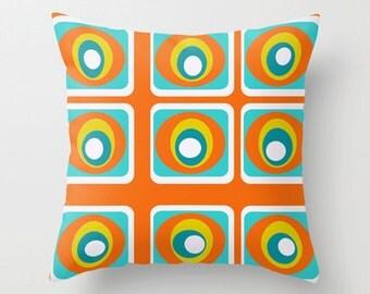 Modern  Pillow Cover, Orange Pillow Cover, MidCentury Modern  Pillow Cover, Retro Pillow Cover, Geometric Pillow Cover, Mod Pillow Cover,