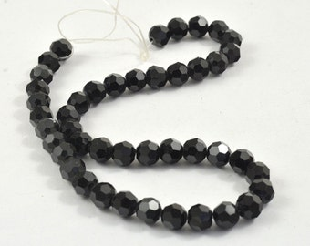 44Beads Round Faceted Black Glass Crystal Beads 8mm  Gemstone Strand 12""
