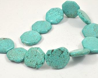 "12Beads Charm 27mm  Turquoise Gemstone Beads Full One Strand 12.5"""