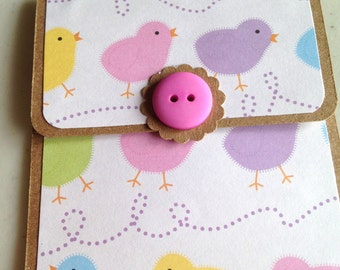 Chick Gift Card Holder, Chickens, Pastel Card, Easter Chicks Colorful Pastels Gift Card Holder