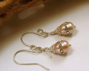 Sterling Silver and Pearl Embellished with Crystals Earrings