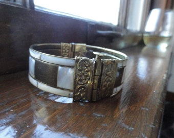Mother of Pearl and Brass Bracelet, Cuff with Hinge