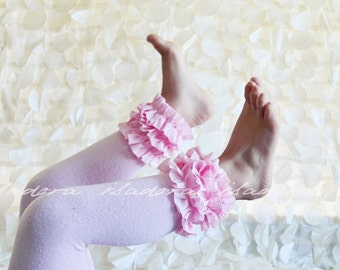 Baby Pink Cotton Ruffle Footless tights