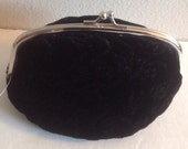 Black Flowered Velvet Purse With Mirror