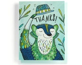 Thank You Card: Badger tips his hat, illustrated and hand-lettered in greens and blues