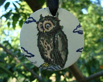 Hand Painted, Halloween Owl Ornament, Ceramic