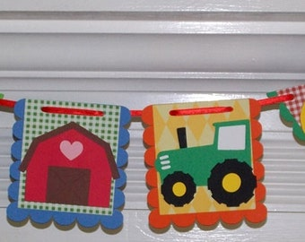 FARM Banner READY TO SHiP 6 Barn Buddies Character panels Barn Pig Cow Tractor Chick Lamb BRiGHT PRiMARY COLORs red yellow blue green orange