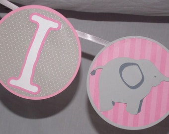 "Elephant Banner   ""I am 1""  1st Birthday  Banner Pink Grey"
