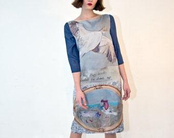 "Handmade silk dress, bird print. ""I Love Betty."""