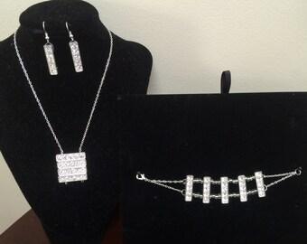 Rhinestone necklace, earrings, and bracelet set