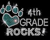 4th GRADE ROCKS Girls Rhinestone School Shirt - Select your color!