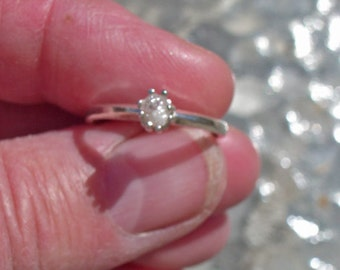 Diamond Ring - Natural Rough Diamond & Sterling Silver Ring - Solitaire Diamond Ring Ladies Size 6 3/4 - 7