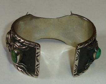 Vintage Native American Navajo Silver Wide Watch Cuff  Bracelet w Turquoise