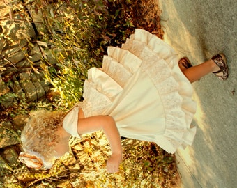 Champagne Lace and Shantung Flower Girl Special Occasion Dress