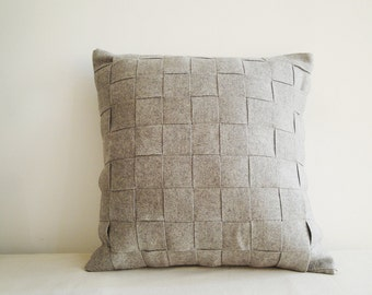 Light Grey Felt Cushion Cover, Felt Pillow , Decorative Pillow, Accent Throw Pillow,