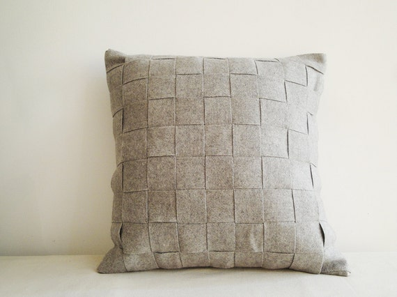 Light Gray Decorative Pillow : Light Grey Felt Cushion Cover Felt Pillow Decorative