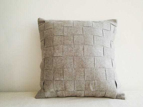 Light Gray Decorative Pillow : Light Grey Felt Cushion Cover Felt Pillow Decorative