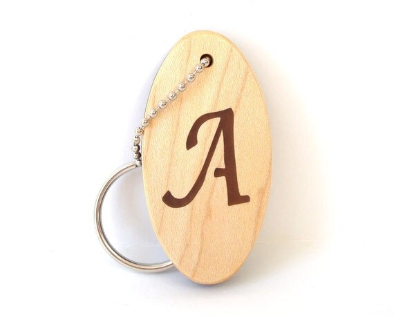 Personalized Initial A Key Chain Monogram Letter Wood Keychain Hand Cut Scroll SawWalnut