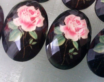 Faceted  Black Oval  Rose Cabochon, 30 mm x 20 mm  Vintage Inspired Resin Beads. 10 Pieces .