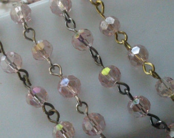 36 Inches, 6 mm Faceted Round,  AB Pink  Glass Beaded Rosary, Jewelry Making Supply, gold, gunmetal, silver or brass Chain