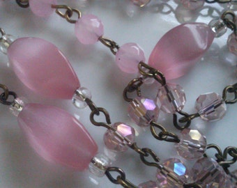 36 Inches Beautiful  moon Glow Pink 6 mm  Faceted Round and 8 mm  x 14 mm Oval , AB Clear Pink faceted Round  Brass Chain